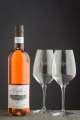 Engraved Italian crystal wine glass